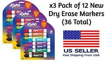 New 3 Pack Expo Low Odor Dry Erase 12 Count Vibrant Color Markers