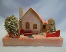 Vintage Larger Pink Putz Christmas House Sponge Trees Fence Stairs Made in Usa