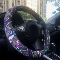 """Automotive Ethnic Flax Boho Colorful Printing Car Steering Wheel Cover 15"""" 38cm"""