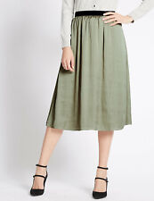 M&S Per Una Khaki Satin  Midi Skirt Size UK 12  BNWT