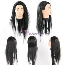 Practice Training Head Human Long Black Hair Model Hairdressing Mannequin Doll Y