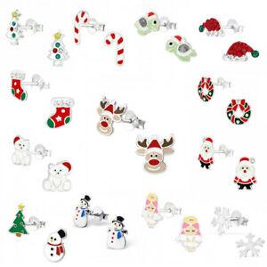 925 Sterling Silver Christmas Earrings Studs Reindeer Santa Hat Father Christmas