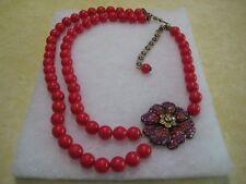 "HEIDI DAUS""Simply Irresistible"" 20"" L.Coral Beaded Flower Necklace(Orig.$139.95)"