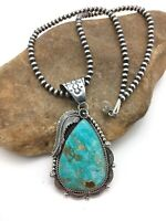 Stunning Navajo Sterling Silver Blue Kingman TURQUOISE Necklace Pendant Set 1035