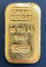 Vintage 10 Tolas 3.75 oz Credit Suisse Gold Cast Bar .999 Fine
