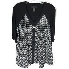 Style & Co Black Shirt White Hidden Button Blouse Pleated Bib Womens Small S