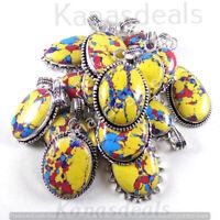 50 PCs yellow Mosaic Jasper Pendant Wholesale Lot 925 Silver Plated Pendants