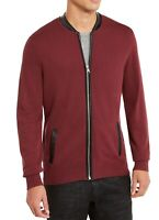 INC Mens Sweater Port Royale Red Size Large L Full Zip Faux-Leather Trim $59 012