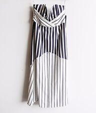 SHONA JOY Size 12 BNWT Strapless Gown Blue White Stripes Maxi Dress