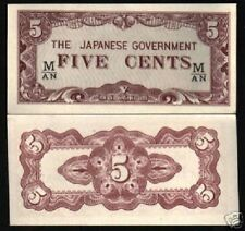 Malaya Japan Malaysia 5 Cents P M2 1942 *M/An Unc War Jim Currency Money 10 Note