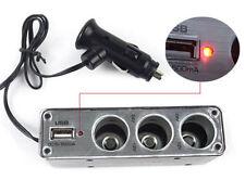 3 Way Multi Car Cigarette Socket Splitter Lighter Charger DC Power Adapter + USB