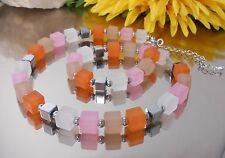 TOLLE Würfelkette / Collier in Pastell Orange Rosa Beige Weiss Hämatit Silber