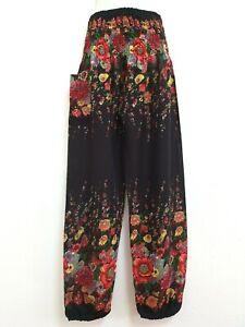 New Ladies Harem Pants Baggy Bohemian Boho Hippie Aladdin Yoga Genie Trousers HF