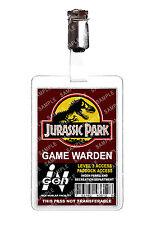 Jurassic Park Game Warden ID Badge Card Cosplay Film Prop Comic Con Halloween