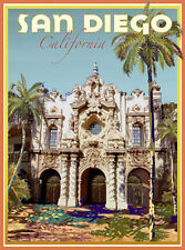 San Diego, CA - Balboa Park- Art Deco Style Travel Poster -by Aurelio Grisanty
