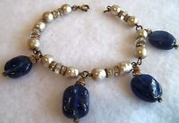 Miriam Haskell Dangle Baroque Blue glass ,Pearl and Crystal bracelet 40's deco