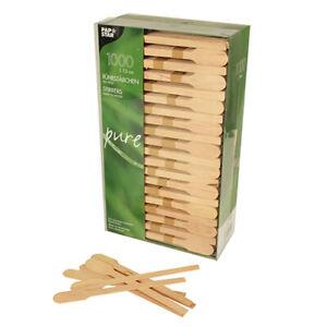 """1000 Rührstäbchen aus Holz """" pure """" 13 cm aus Holz in """" Paddelform """" Einweg"""