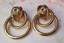 BIJOU VINTAGE BOUCLES D'OREILLES anneau entrelacé métal doré verre cristal T156