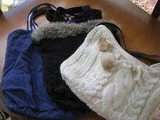 PURSES, LOT OF 3, BLUE POLKA DOT, BLACK WITH GREY FUR, KNITTED CREAM COLOR, USED