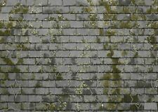 16 SHEETS EMBOSSED paper  roof slates 21x29cm scale 1/24 WITH MOSS landscape