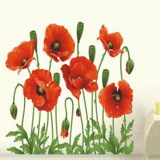 Red Poppies Removable Wall Sticker PVC Waterproof Room decor