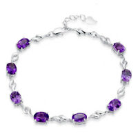 925 Sterling Silver Amethyst Chain Bracelet For Women Valentine's Day Jewelry