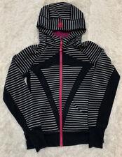 Ivivva by Lululemon Girls Sz 14  Stripe Scuba Full Zip Up Hoodie Jacket  EUC
