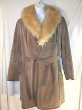 Womens Winter Jacket Fur Collar Fur Lined Tie Thick Warm Parka Coat Army