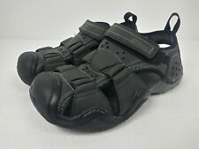 Crocs Mens Swiftwater Leather Fisherman Water Sandals Sz 8 Black Gray