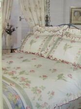 DOUBLE BED DUVET COVER SET POPPY FULLY FRILLED FLORAL VINTAGE GREEN PINK BEDDING