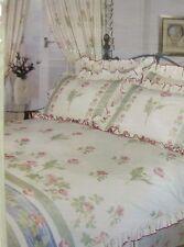DOUBLE BED DUVET COVER SET POPPY FULLY FRILLED FLORAL VINTAGE GREEN PINK BEDDING