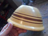 "Vintage Yelloware Pottery Brown Stripe 8"" Mixing Bowl Robinson Ransbottom ?"