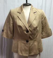 The Limited Sport Coat Women's Medium Camel Tan Blazer 3/4 Sleeve Fitted Jacket