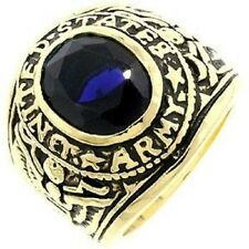 18K EP GOLD  US ARMY MILITARY INLAY RING sz 10 or T 1/2 SAPPHIRE