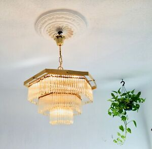 "22"" ✨ 6 Light Vintage Brass Glass Chandelier, Hexagonal, Sky Scraper, Art Deco"
