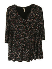 Evans Ladies Top Size 20 Black With Blue, White And Red Floral Pattern