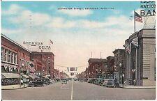 View on Ludington Street in Escanaba MI Postcard 1942