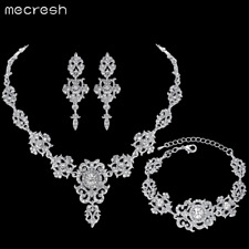 Mecresh Clear Floral Crystal Necklace Earrings Set Bridal Jewellery TL432+SL031