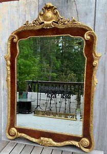 Vintage La Barge Italian Burl Walnut & Gilt Wood Georgian Style Mirror c. 1960