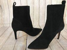 VIA SPIGA Womens Black Suede Ankle Boots Heels Black Size 9 M NEW $350