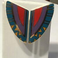 Laurel Burch Clip Earrings Cloisonné Enamel Aztec Tribal Large 1980s Vintage