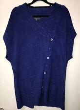 Per Una L 16-18 Blue Thigh Length Asymmetrical Sleeveless Jumper Dress Tunic