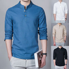 Men Cotton Linen T-Shirt Plain V Neck Long Sleeve Vintage Casual Blouse Top