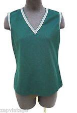 Vintage 1970's Personal (Leslie Fay) Green V Neck Vest Shirt