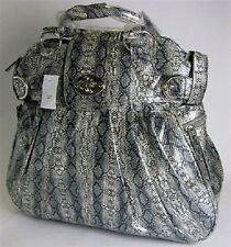 Grey Snakeskin Print Ladies Travel Handbag extendable handle & 2 wheels Holdall