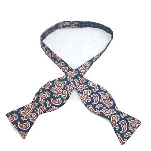 Brooks Brothers Makers All Silk Bow Tie Navy Blue And Red Paisley Pattern USA