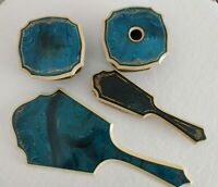 VTG 4 BLUE & IVORY CELLULOID Vanity Dresser Pieces - STAMPED PYRAMID