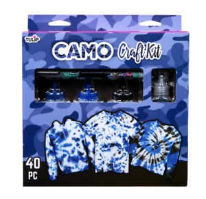 Tulip Tie Dye Camo Craft Kit, (Navy Blue, Royal Blue and Black), 40 Pieces