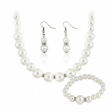 Genuine 8-9mm Freshwater Cultured Pearl Necklace Bracelet & Earrings Set Party