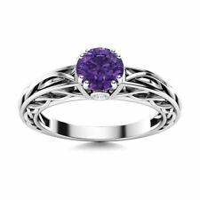 Genuine Amethyst & Diamond Vintage inspire Ring 14k White Gold Size (3-9)